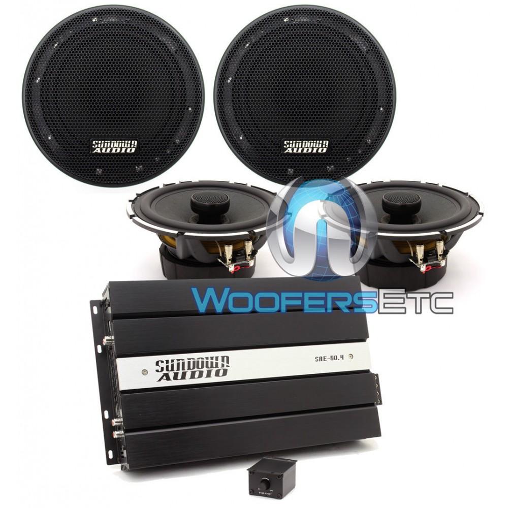 "pkg Sundown Audio SAE-50.4 4-Channel Amplifier + (2) SA-6.5 CX 6.5"" Coaxial Speakers"