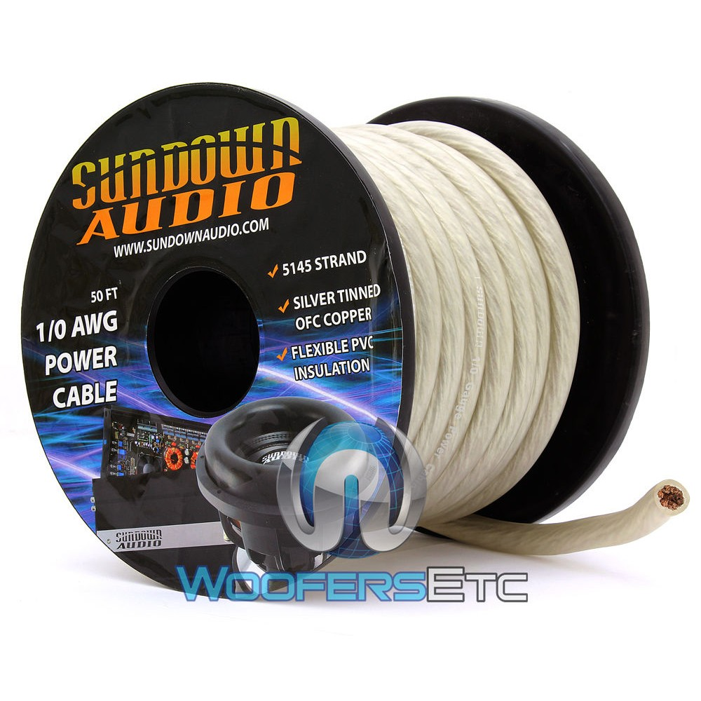 Sundown Audio PWR1/0-50S - 50 Ft 1/0 AWG OFC Frosted Silver Power / Ground Cable