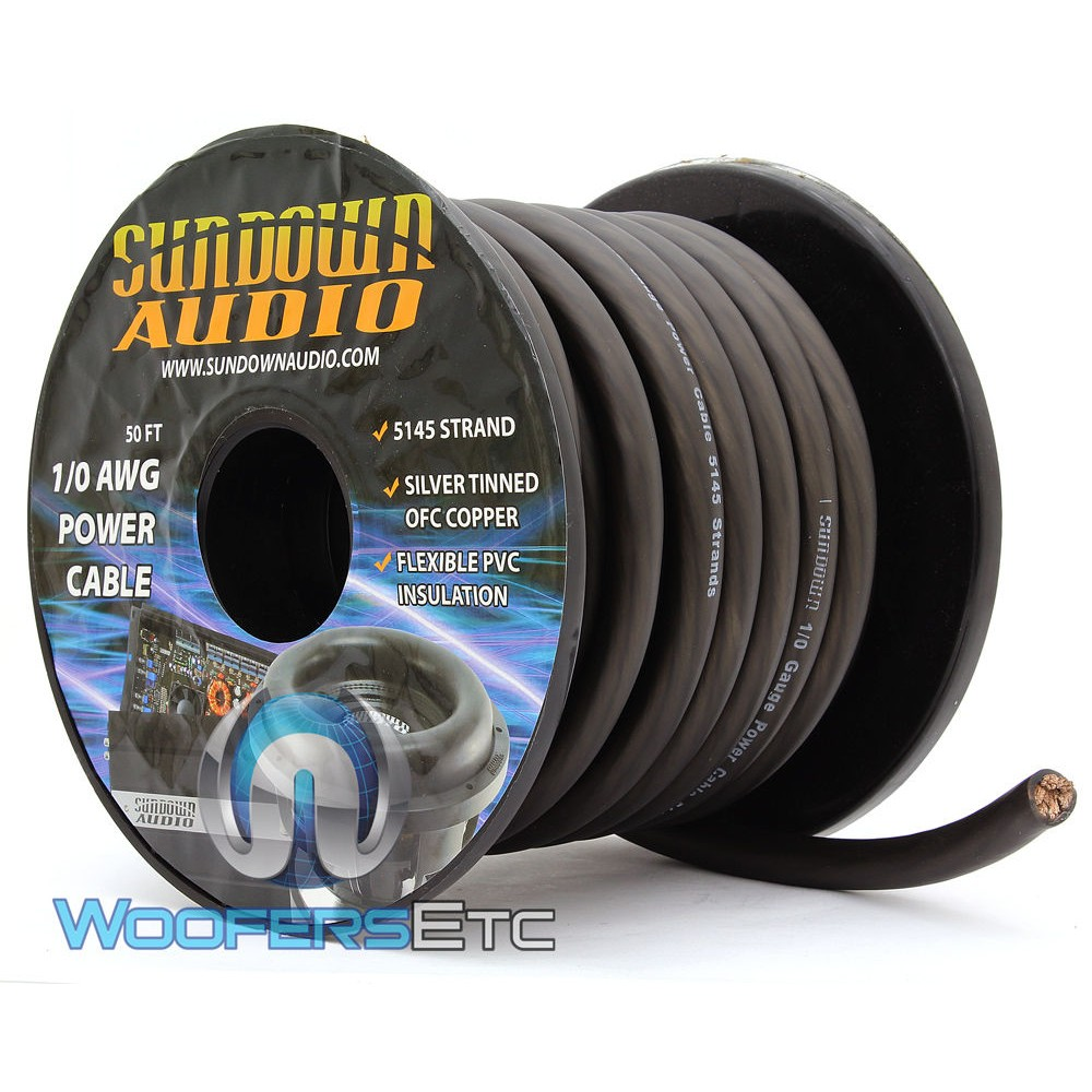 Sundown Audio PWR1/0-50B - 50 Ft 1/0 AWG OFC Frosted Black Power / Ground Cable