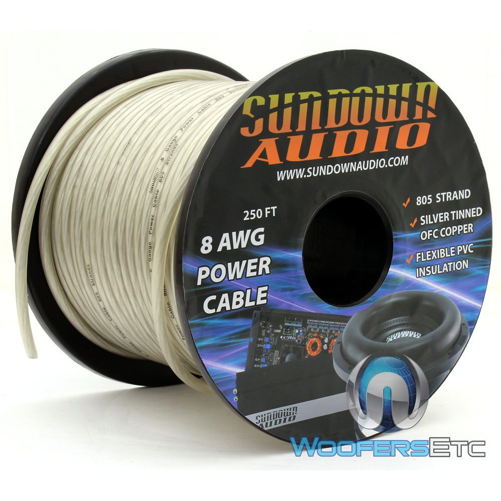 Sundown Audio PWR8-250S - 250 Ft. 8 AWG OFC Frosted Silver Power / Ground Cable