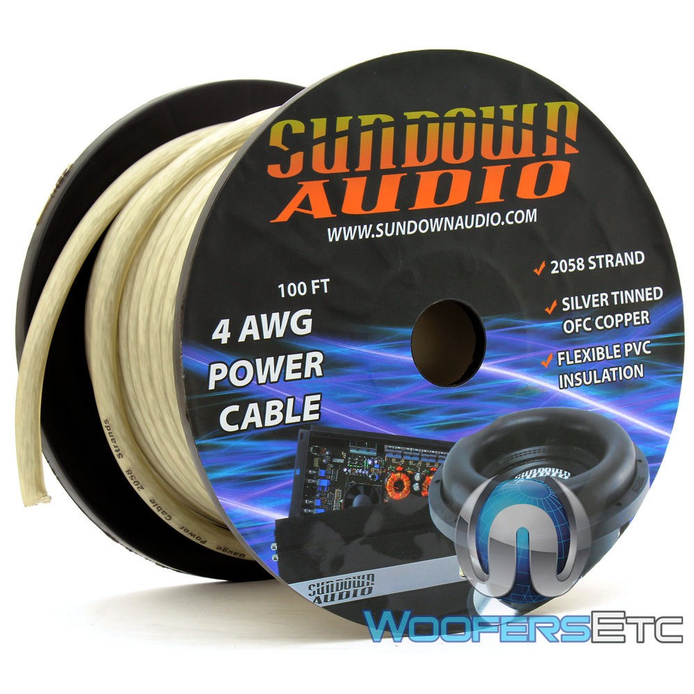 Sundown Audio PWR4-100S - 100 Ft 4 AWG OFC Frosted Silver Power / Ground Cable