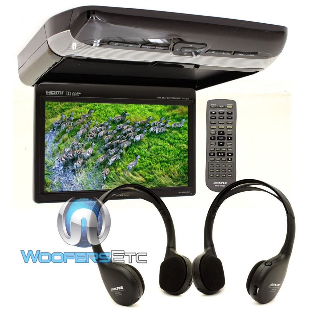 """PKG-RSE3HDMI - Alpine 10.1"""" Overhead Flip Down WSVGA Video Monitor with Built-In DVD Player, USB and HDMI Input"""