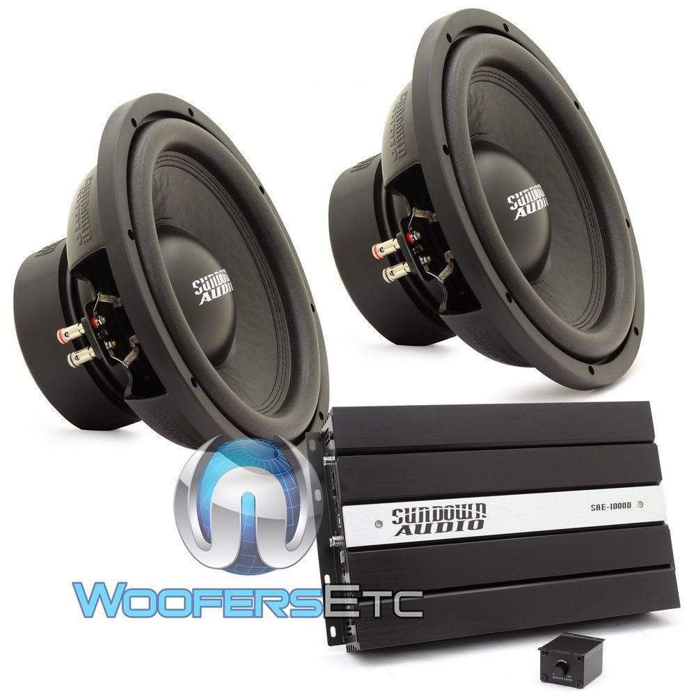 """Sundown Audio Package: (2) E-12 V3 D4 12"""" Subwoofers + (1) SAE-1000D v2 Monoblock Amplifier"""