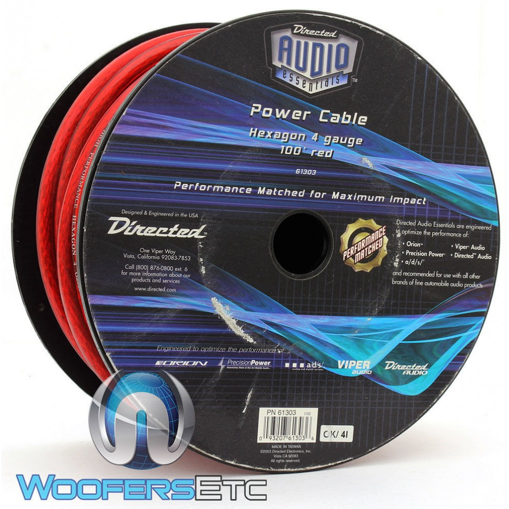 Directed Electronics 61303 4-AWG 100 Feet Red Ground Cable Wire Spool