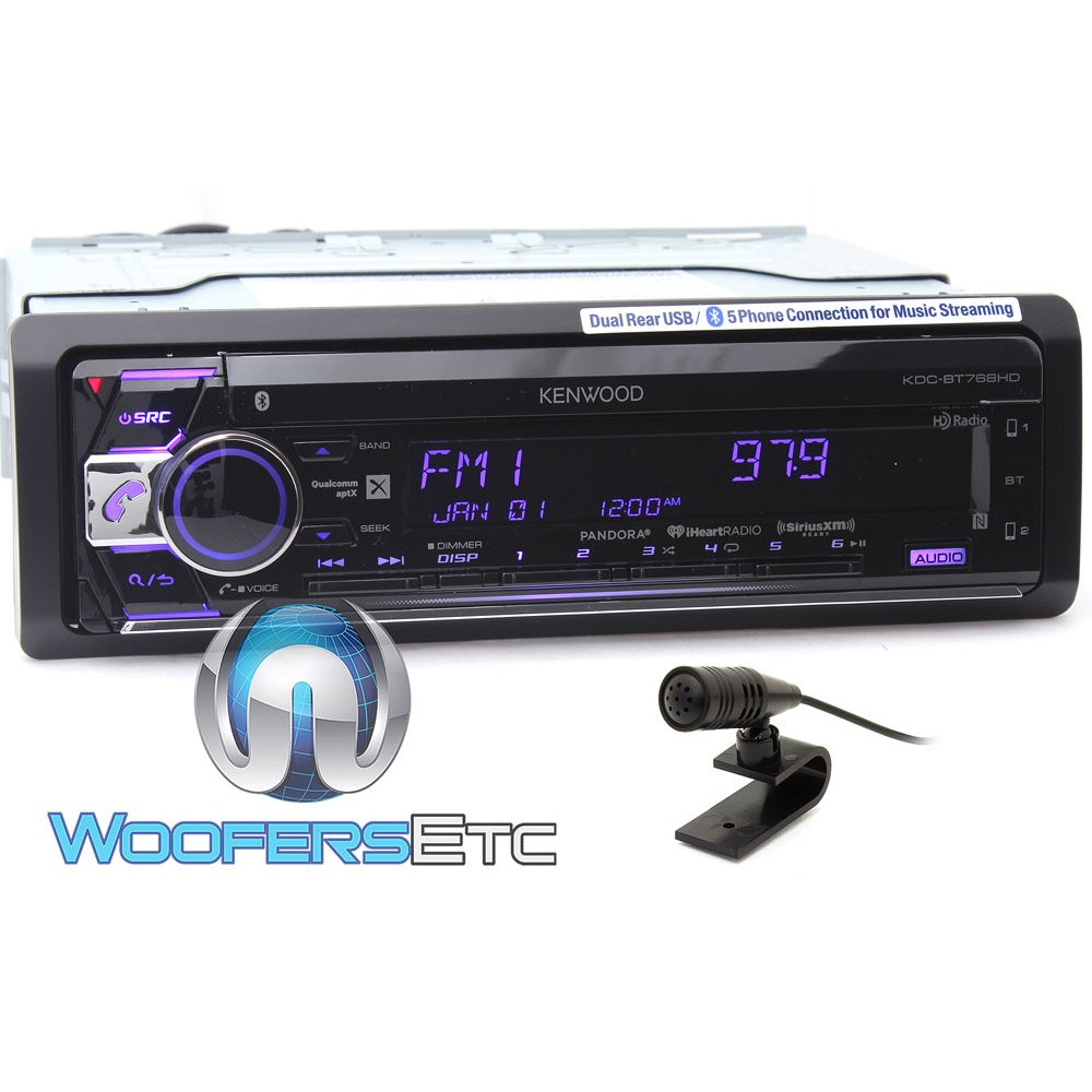 kenwood kdc bt768hd in dash 1 din cd mp3 usb stereo receiver with hd radio and bluetooth. Black Bedroom Furniture Sets. Home Design Ideas