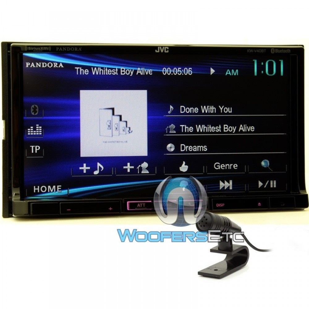 kw v40bt jvc double din in dash 7 touchscreen stereo. Black Bedroom Furniture Sets. Home Design Ideas