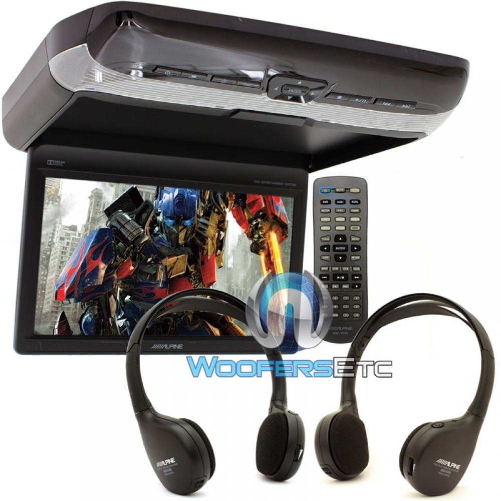 """PKG-RSE3DVD - Alpine 10.2"""" Overhead Video Monitor with Built-In DVD Player"""