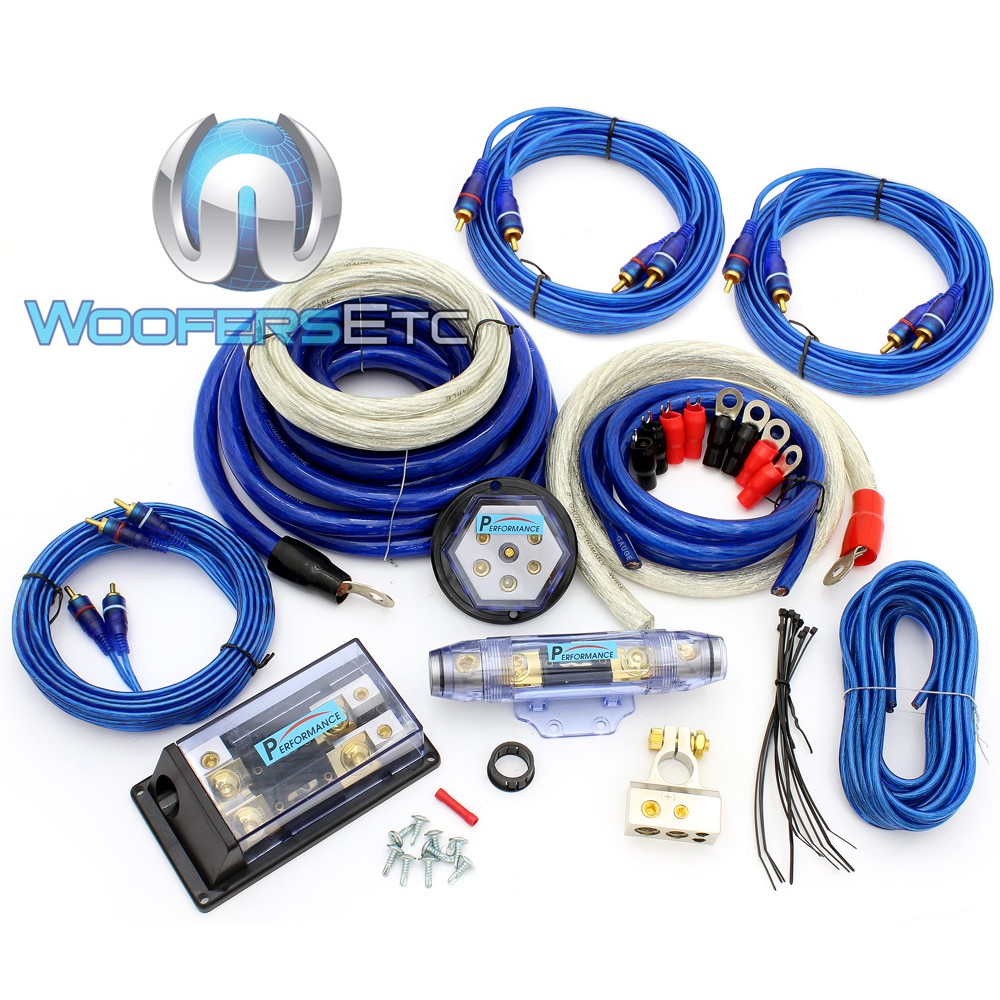97K - Performance 0 & 4 Ga. Dual 8000W Amplifier Kit with 3 RCA Cables