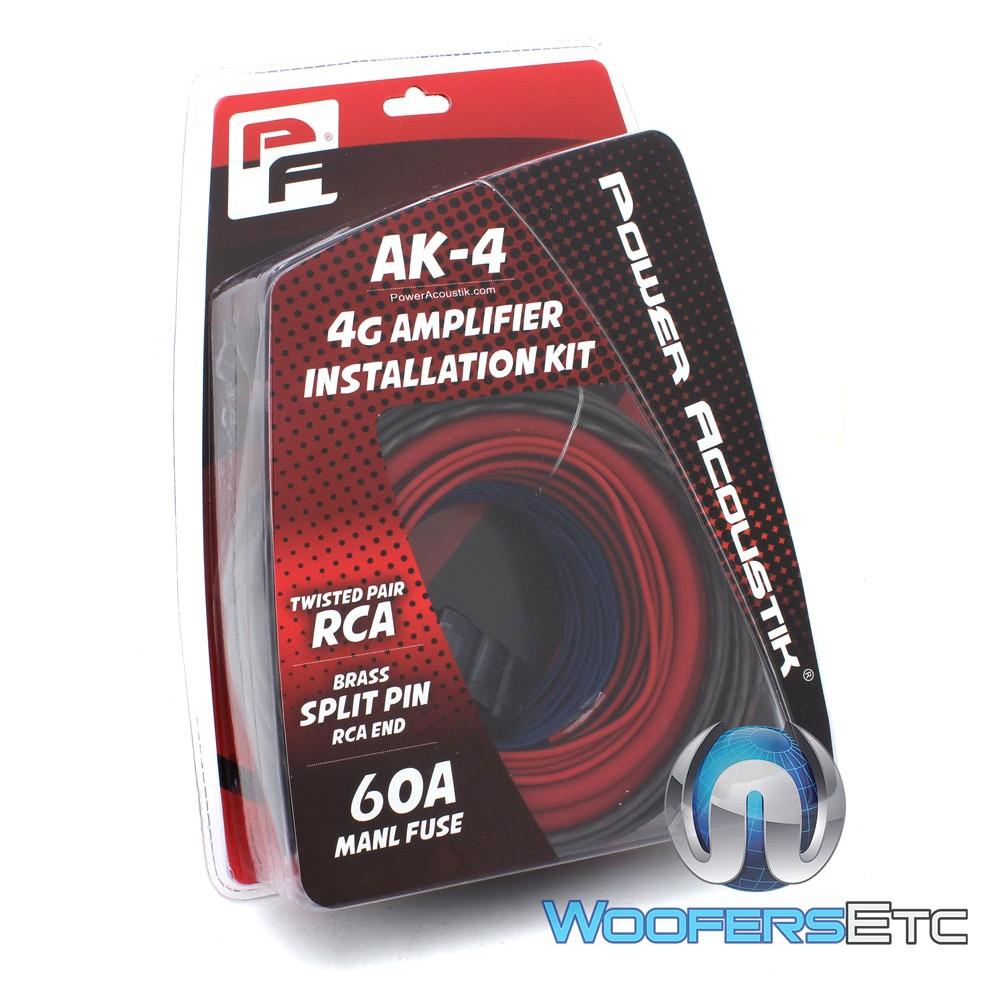 Power Acoustik AK-4 4-Gauge Amplifier Complete Installation Kit