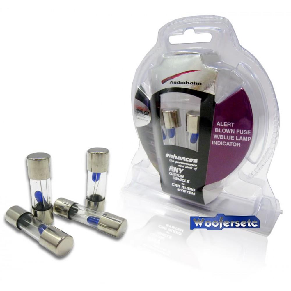 AGU15B - Audiobahn 4 Pieces AGU 15 Amp Fuse Pack w/ Blown Fuse Blue Lamp Indicator