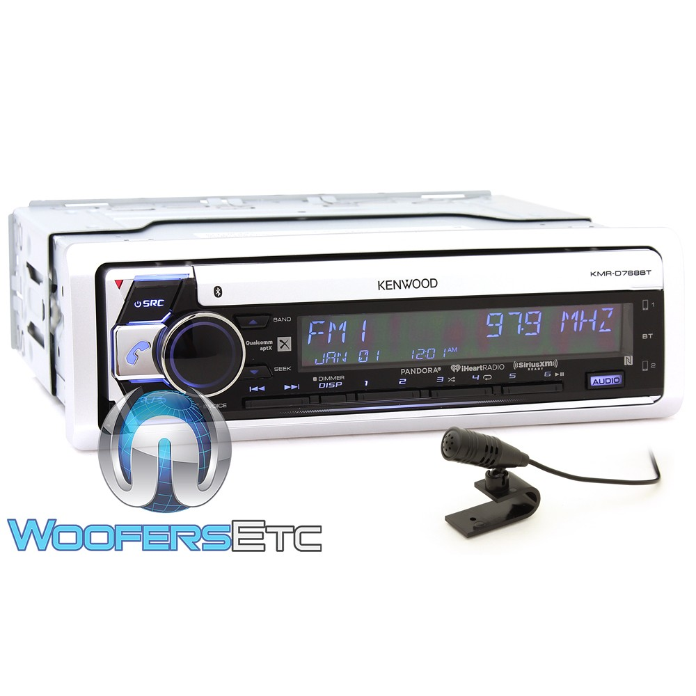 Kenwood KMR-D768BT In-Dash 1-DIN CD Marine Stereo Receiver with Siri Eyes Free and Android AOA