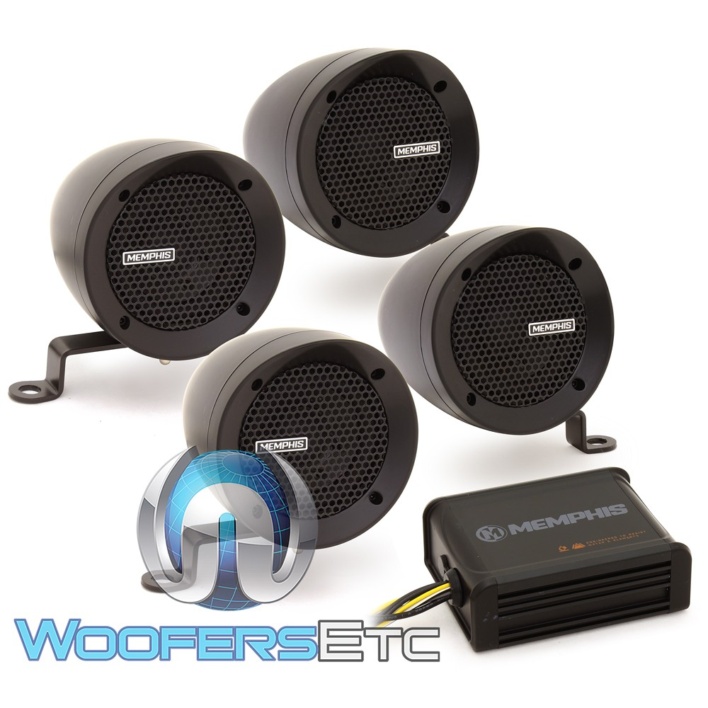 Memphis MXABMB4 4 Speakers Powersports Kit with Marine Grade Amplifier (Black)