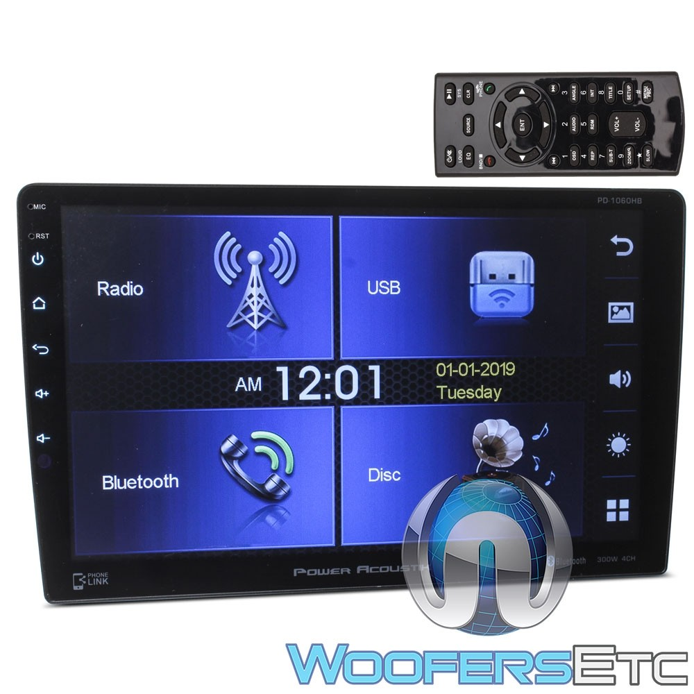 """Power Acoustik PD-1060HB In-Dash 2-DIN 10.6"""" Touchscreen Swiveling DVD Receiver with Bluetooth V4.0 Connectivity and Android Phonelink"""