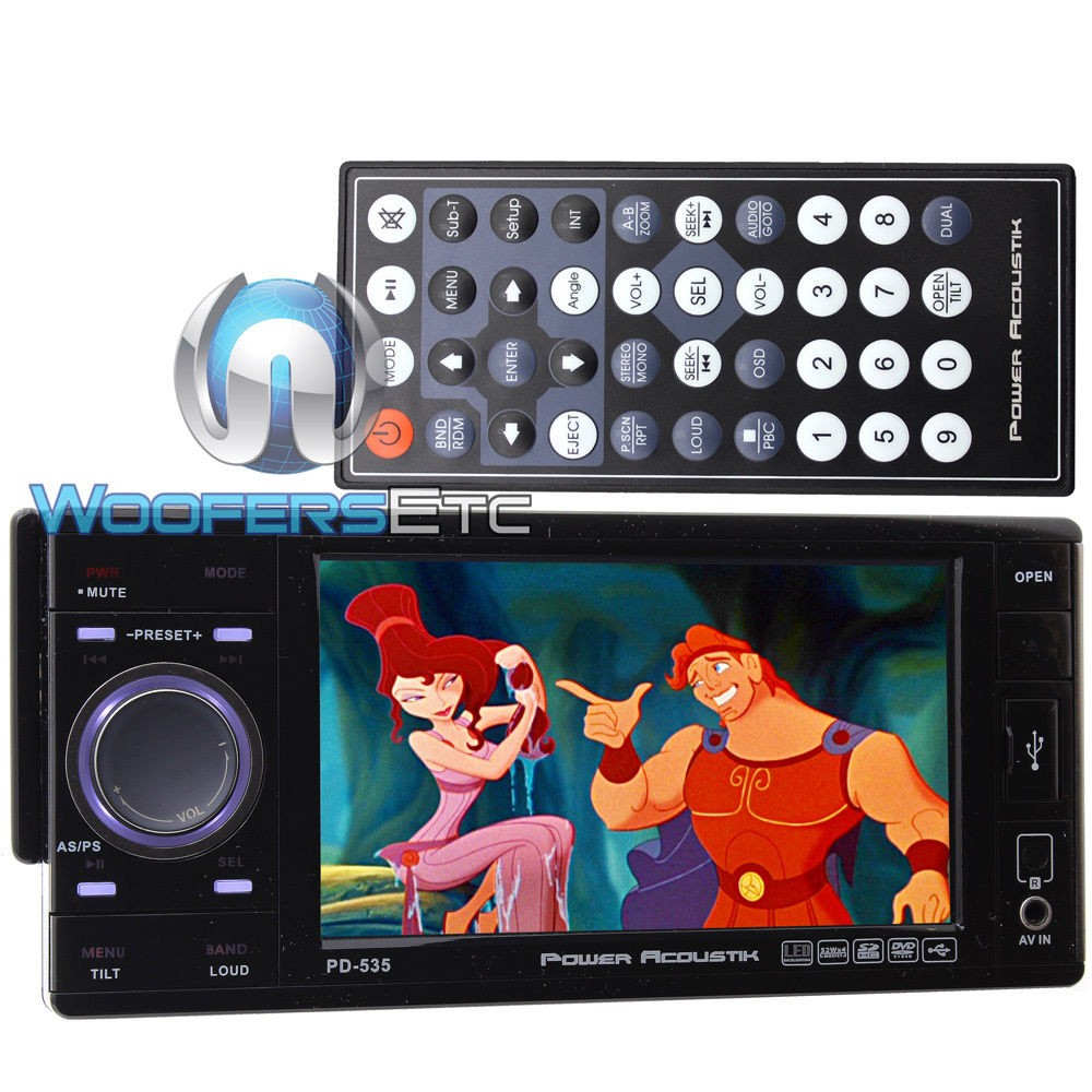 pd 535 power acoustik in dash 1 din 5 3 touchscreen lcd. Black Bedroom Furniture Sets. Home Design Ideas