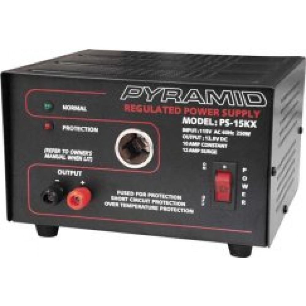PS-15KX - Pyramid 10 Amp Constant 12 Amp 13.8V Power Supply w/ Lighter Plug