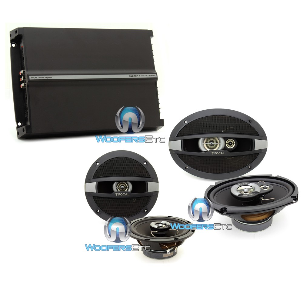 "pkg Focal R-690C 6""x9"" + R165C 6.5"" Coaxial Speakers + R4280 4-Channel Amplifier"