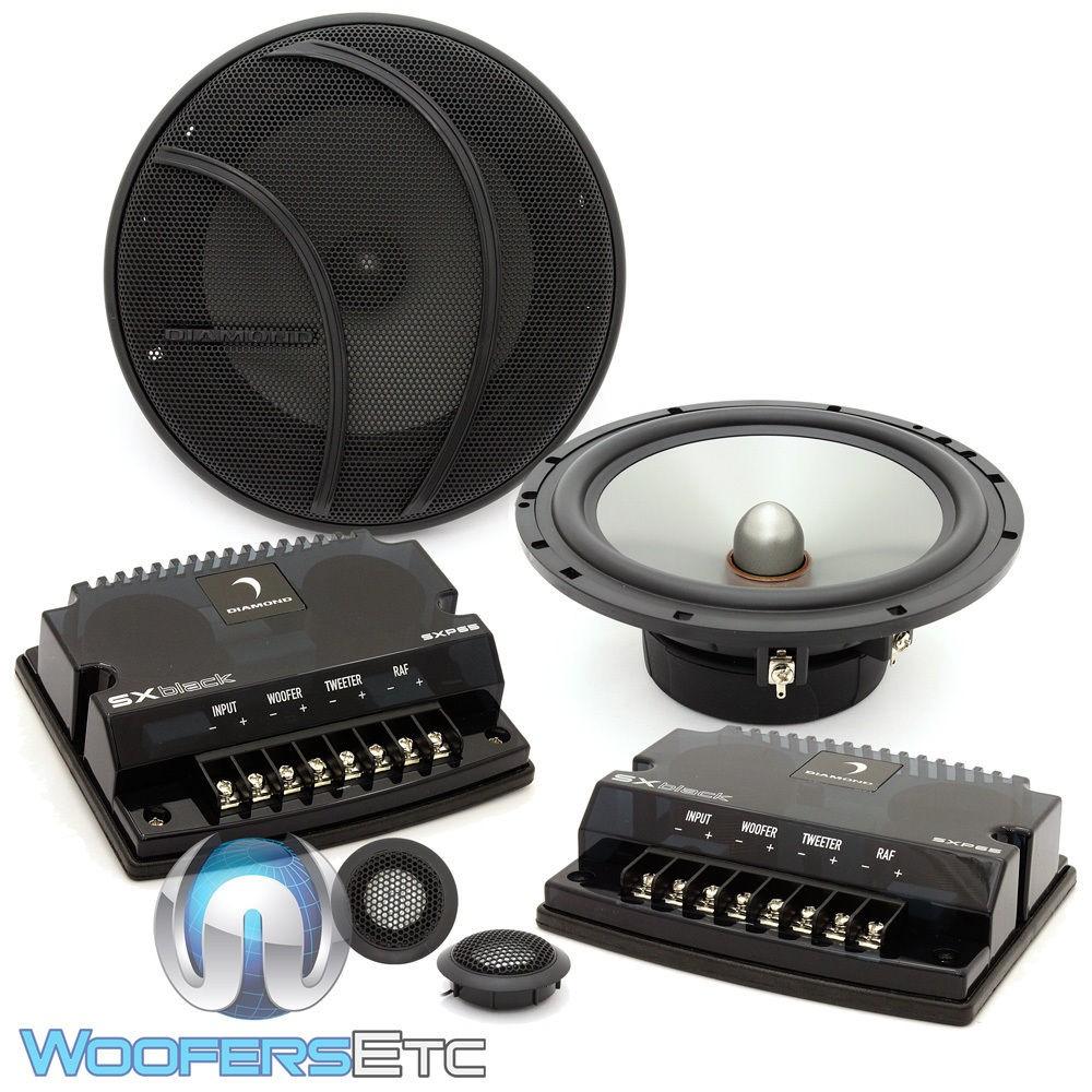 "SXP65A - Diamond Audio 6.5"" 150W RMS SXBlack Series Convertible Component Speaker System (Aluminum Tweeters)"