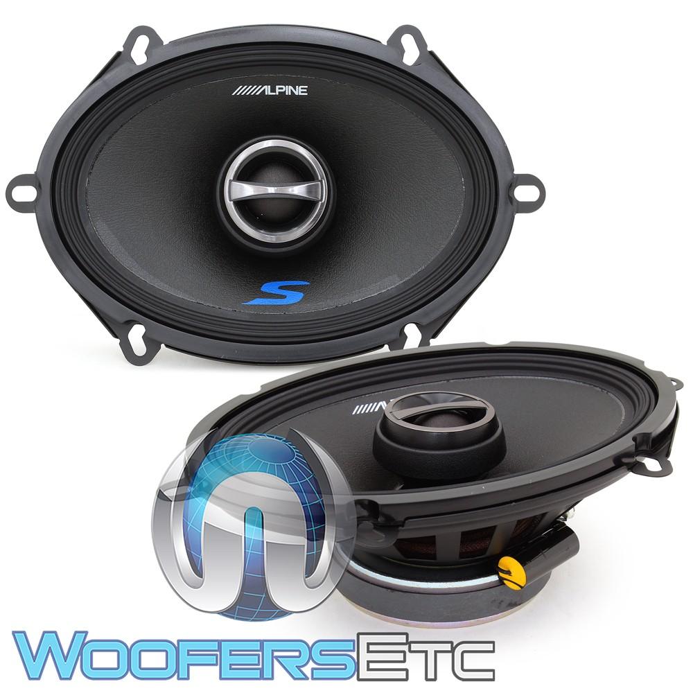 "Alpine S-S57 5"" x 7"" 75W RMS 2-Way Coaxial Speakers"