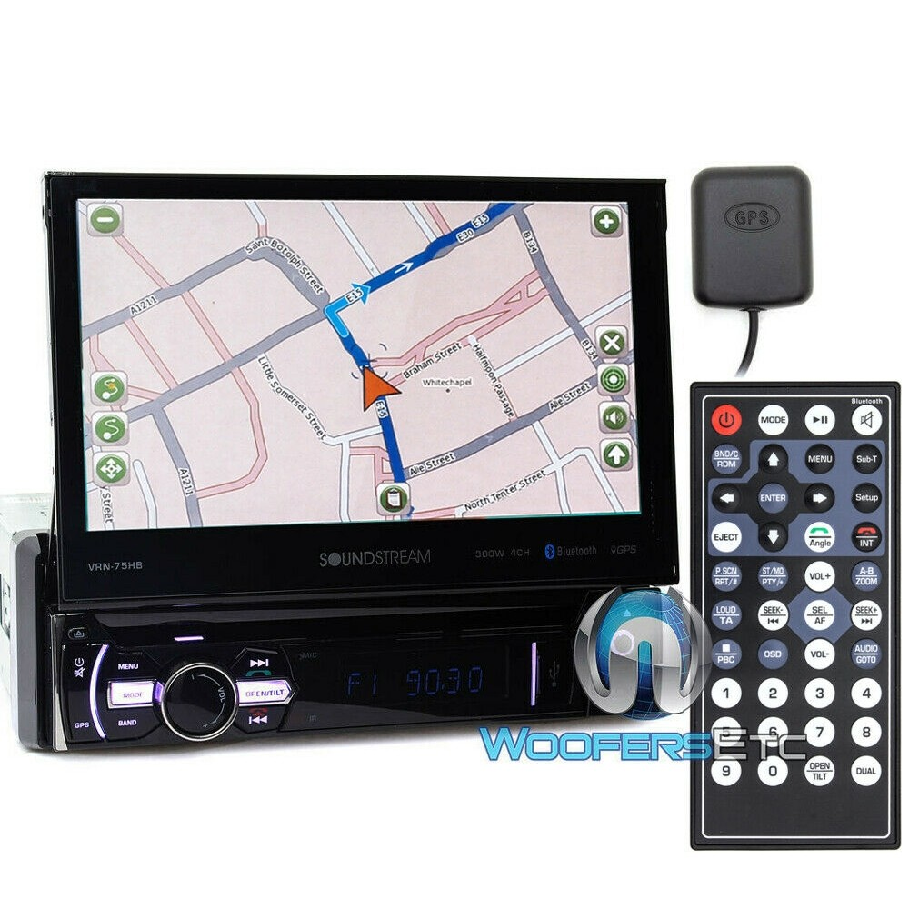 """Soundstream VRN-75HB In-Dash 1-DIN 7"""" DVD Receiver with Bluetooth, GPS Navigation and Android PhoneLink"""