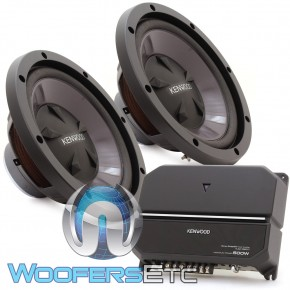 "KENWOOD P-W1221 KAC-5207 AMPLIFIER 2 KFC-W112S 12/"" SUBWOOFERS BASS SPEAKERS"