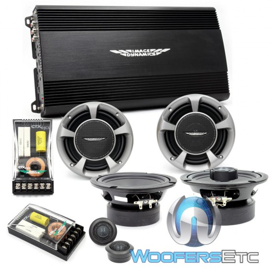 "pkg Image Dynamics I4500 4-Channel 460 Watt i-Series Amplifier + CTX65CS 6.5"" Component Speaker System + CTX65 6.5"" 2 Way Speakers"