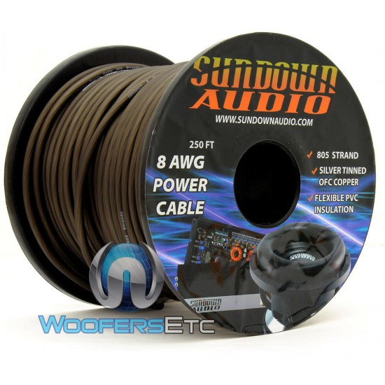 Sundown Audio PWR8-250B - 250Ft 8 AWG OFC Frosted Black Power / Ground Cable