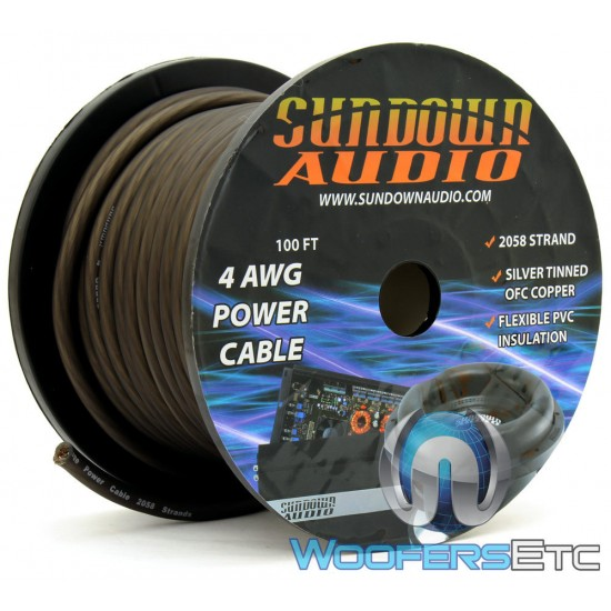 Sundown Audio PWR4-100B - 100 Ft 4 AWG OFC Frosted Black Power / Ground Cable