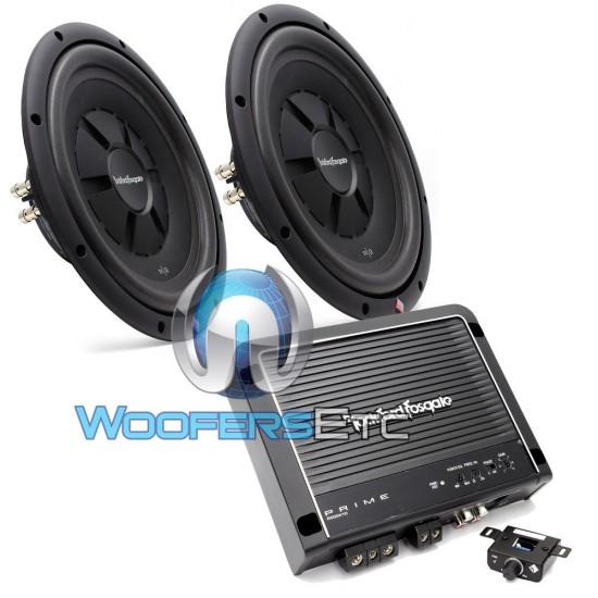 """pkg Rockford Fosgate R500X1D Monoblock 500W RMS Amplifier + Pair of R2SD2-1212"""" Dual 2-Ohm Subwoofers"""
