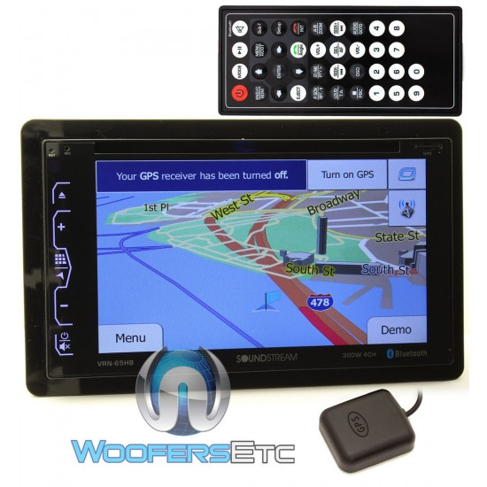 """VRN-65HB - Soundstream In-Dash 2-DIN 6.2"""" Touchscreen LCD DVD Receiver with MHL Mobile Link, Bluetooth and GPS Navigation"""