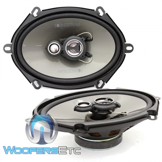 """AF.573 - Soundstream 5"""" x 7"""" 120W RMS 3-Way Coaxial Speakers"""