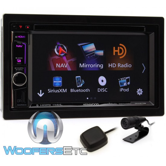 "Kenwood DNX573S 6.2"" 2-DIN Touchscreen Receiver w/ NAV & Apple Carplay"