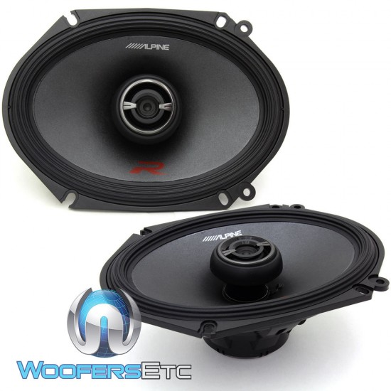 """Alpine R-S68 6"""" x 8"""" 100 Watts RMS Type-R Series Coaxial Speakers"""