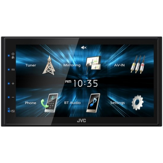 "JVC KW-M150BT In-Dash 2-DIN 6.8"" Touchscreen Digital Media Receiver with Mirroring for Android, Bluetooth"