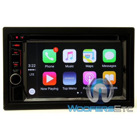 """DDX6702S - Kenwood In-Dash 2-DIN 6.2"""" Touchscreen DVD/CD/Stereo/Video Receiver with Apple CarPlay and HD Radio"""