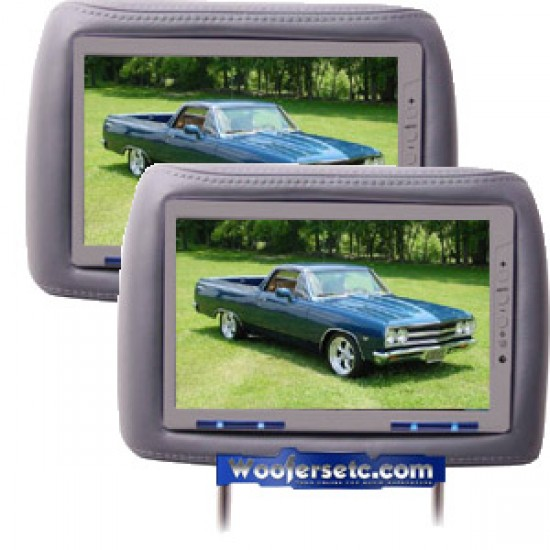 "HD95GR(GREY) - Power Acoustik 9.5"" Built-in Headrest TFT Monitor W/Remote(1 PAIR)"