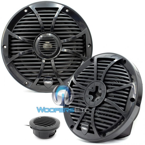 "Wet Sounds SW-808-B 8"" 125 Watts RMS Marine Coaxial Speakers (Black)"