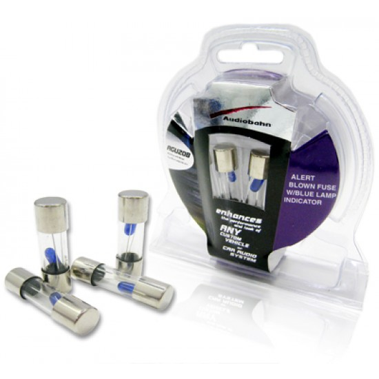 AGU20B - Audiobahn 4 Pieces AGU 20 Amp Fuse Pack with Blown Fuse Blue Lamp Indicator