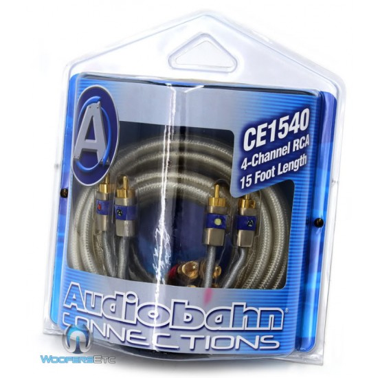 CE1540 - Audiobahn Connections 4 Channel 15 Foot Length RCA Cable