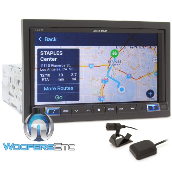 """Alpine iLX-207 In-Dash 1-DIN 7"""" Touchscreen Digital Media Receiver with Apple CarPlay, Android Auto and GPS Navigation"""