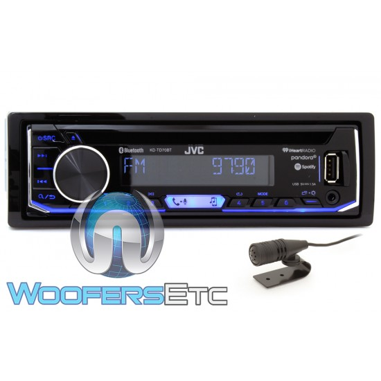 JVC KD-TD70BT In-Dash 1-DIN CD/MP3 Digital Media Car Stereo Receiver with Pandora, Spotify and iHeartRadio Control