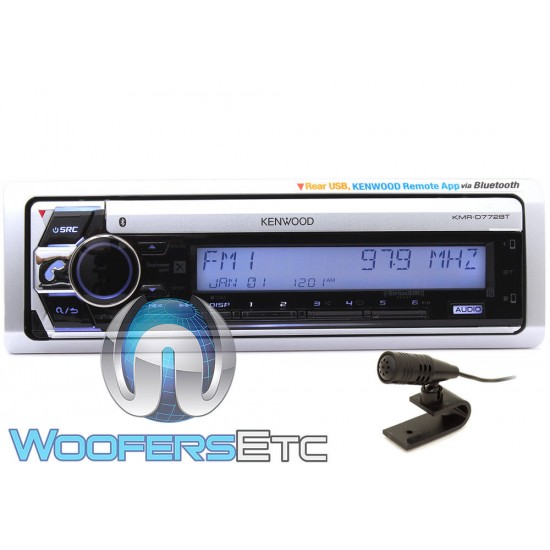 Kenwood KMR-D772BT In-Dash 1-DIN CD/MP3/USB Marine Stereo Receiver with Bluetooth