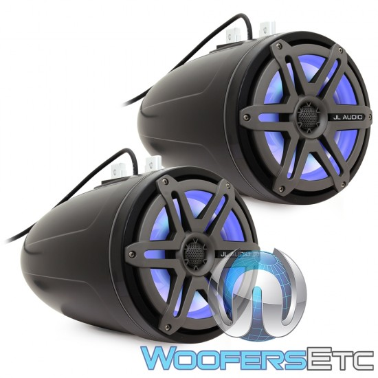 """JL Audio M880-ETXv3-SG-TKLD-B 8.8"""" 125W RMS 2-Way Marine Wakeboard Tower Speakers with LED Lights (Satin Black with Titanium Sport Grilles)"""