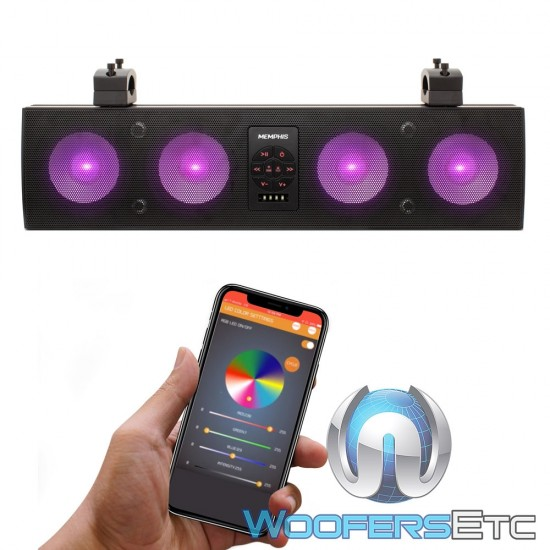 """Memphis MXA46SB28 28"""" App Controlled Overhead Amplified 8 Speakers Soundbar with Bluetooth and RGB LED"""