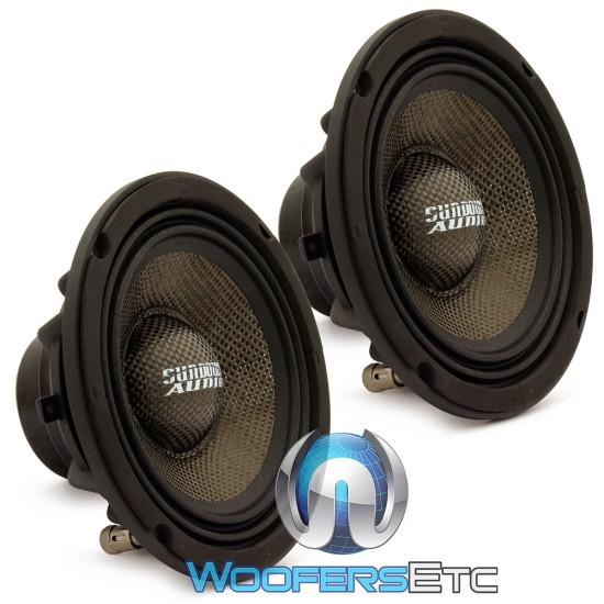 "Sundown Audio NeoPro-8 V3 8"" 400W RMS 4-Ohm Carbon Fiber Midrange Speaker (Pair)"