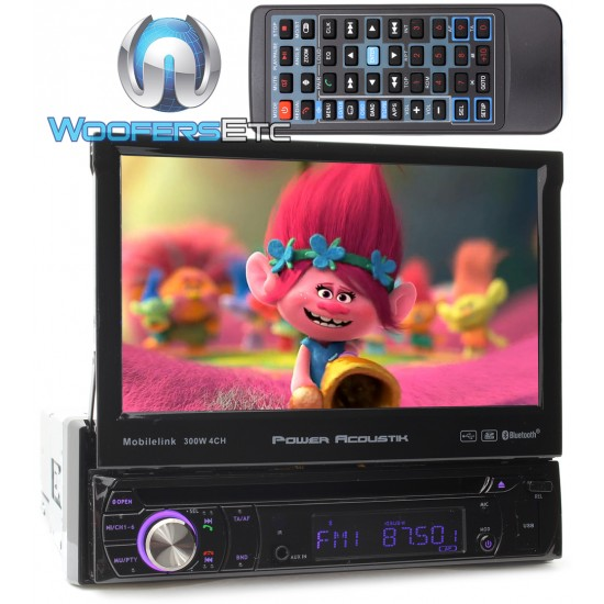"Power Acoustik PD-724HB In-Dash 1-DIN 7"" Motorized Touchscreen LCD DVD Stereo Receiver with Bluetooth"