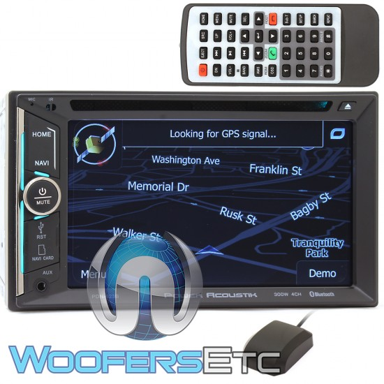 """Power Acoustic PDN-623B In-Dash 2-DIN 6.2"""" LCD DVD Receiver with GPS Navigation, Bluetooth Connectivity and USB"""