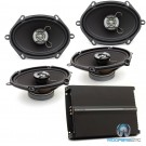 "pkg 2 Sets Focal Auditor RIP-570C 5x7"" 50W RMS 2-Way Coaxial Speakers + Focal R-4280 4-Channel 560 Watts Max Amplifier"