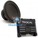 "pkg Focal SUB P25 10"" 200W RMS Single 4-Ohm Subwoofer + SOLID 2 BLACK 2-Channel 200W RMS Amplifier"