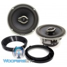 "pkg Hertz HCX 165 6.5"" 100W RMS Hi-Energy Coaxial Speakers + Arc Audio 5.25"" to 6.5"" Speaker Adapter Rings For Motorcycles"