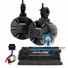 "Alpine PSS-SX01 6.5"" Marine Boat Tower Speakers Bluetooth with 4-Channel Amplifier"